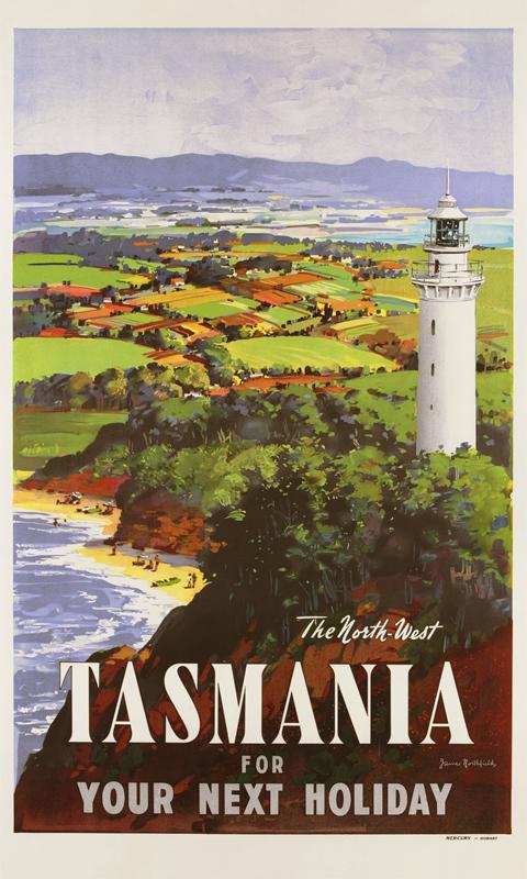 tasmania vintage travel poster by james northfield