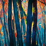 Bushfire tree trunks painting