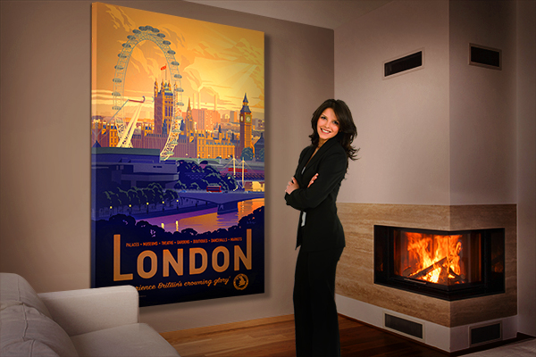 London stretched canvas from Printism - installation view