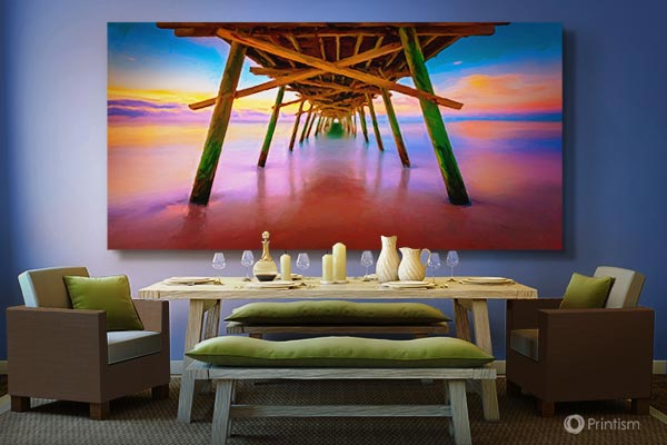 Pier Sunset canvas - installation view
