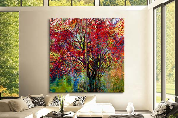 Red Autumn Tree painting on wall