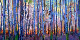 Forest view of young tree trunks in blue shaded light