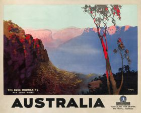 The Blue Mountains - Vintage Travel Poster by James Northfield