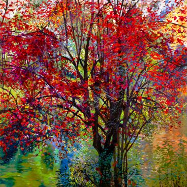 Painting of Large Tree with bright red autumn leaves