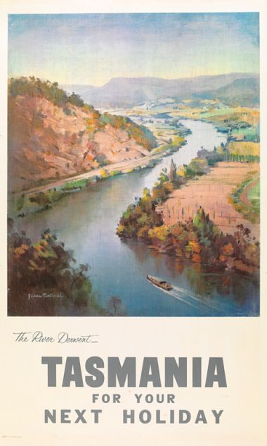 Tasmania - The River Derwent - Vintage Travel Poster by James Northfield